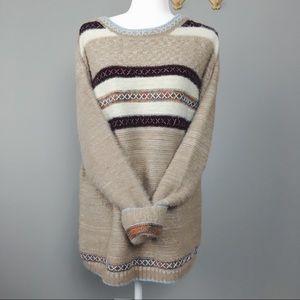 Hem & Thread Striped Beige Embroidered Sweater
